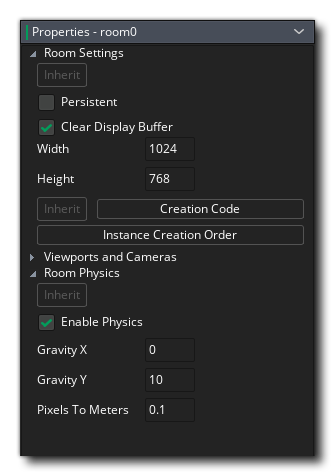 The Physics Tab In The Room Editor