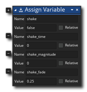 Screenshake Controller Variables